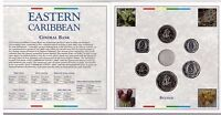 EAST CARIBBEAN STATES - 6 DIF UNC COINS MINT SET: 1 CENT - 1$ 2000 YEAR FOLDER