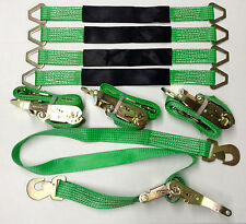 4 Axle Straps Car Hauler Trailer Auto Tie Down 4 Ratchet Straps Tow Kit Green
