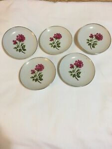 Vintage Made in Japan Butter Pats Relish pickle Jelly dishes Set Of 5 Red Rose