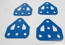 Meccano Flat Trunnion 3x3 Holes in French Blue x 4 (126a)
