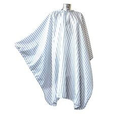 Old Fashion Hair cutting barber cape.White Gown with black stripes. Traditional