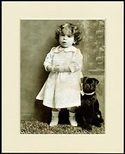 PUG BLACK DOG AND LITTLE GIRL CHARMING DOG PRINT MOUNTED READY TO FRAME