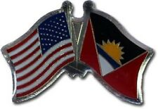 Usa - Antigua Friendship Crossed Flags Lapel Pin - New - Country Pin