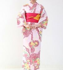 Japanese Women's Traditional YUKATA KIMONO Obi Set JAPAN fy10-c 06 PINK C-c