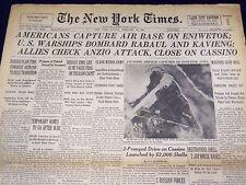 1944 FEBRUARY 20 NEW YORK TIMES - AMERICANS CAPTURE AIR BASE ON ENIWETOK- NT 802