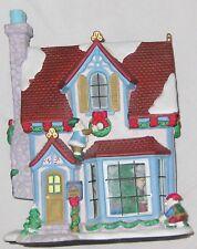 "Ceramic 12"" Thomas Kinkade Church Village House Music Box Plays White Christmas"