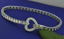 1.68 ct 14k Solid White Gold Ladies Natural Diamond Tennis Bracelet Heart Trendy