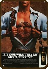 1984 Guinness Beer Shirtless Superman Tattoo Man VintageLook Decorative Metal Si