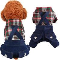 Spring New Cute Plaid Denim Overalls Pet Clothes Puppy Cat Jumpsuit Jeans Pants