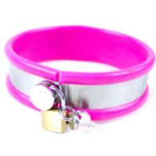PINK Rubber trimmed Metal collar with lead  (CO-02-PINK),  FREE UK DELIVERY