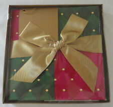 Avon Gift Box With Lid Folding Collapsible Red Green Gold Ribbon Bow Card NEW