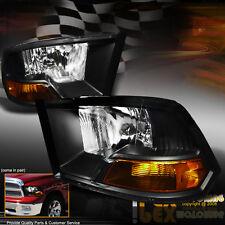PREMIUM Quality 2009-2016 Dodge Ram 1500/2500/3500 Black Headlights Headlamps