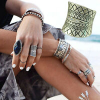 Vintage Beach Punk Ring Carved Totem Silver Plated Boho Finger Ring Knuckle B DD
