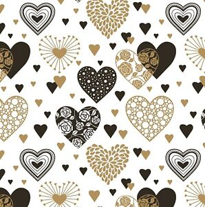 Modern Heart Design Gift Wrap Sheet,Black And Gold Heart Wrapping Paper