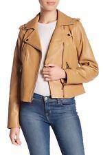 $450 Michael Kors Genuine Leather Asymmetrical Zip Moto Jacket S Manilla