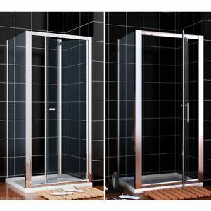 Bi fold Pivot Shower Enclosure Door Glass Screen Walk In Cubicle Panel and Tray