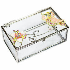 Mele & Co Small Glass Trinket Box Pink Owl Jewellery Storage Case Gift For Her