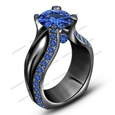 Black 925 Silver Solitaire With Accent Ring Fj Ehs 2.30 ct Blue Sapphire Full