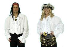 RÜSCHENHEMD weiß Damen Herren Mittelalter Pirat Hemd 50% Baumwolle 50% Polyester