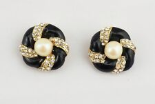 Vintage Nini di N faux pearls black enamel pave crystal floral clip on earrings