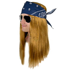 Heavy Metal AXL ROSE GLAM Rocker LA 80's Guns N Roses WIG Sunglasses Costume