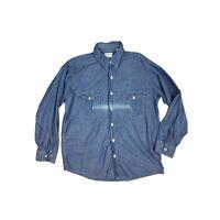 Vintage Oshkosh Bgosh Union Made Mens 16 Short Chambray Work Shirt XL USA E4
