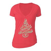 Merry Christmas Tree - UGLY CHRISTMAS Shirt Party Women Vneck T-shirt Red
