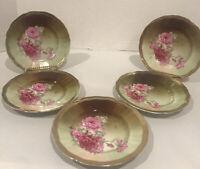 Five Stunning Antique C. T. Altwasser c 1875-1935 Rose Design Dessert Plates