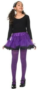 Kids Small Costume Black Purple Witch Stripe Tights Halloween Toddler age 1-3