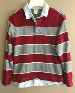 Boy's Gymboree Size 8 - Red & Gray Striped Long Sleeve Polo Shirt - AA CP