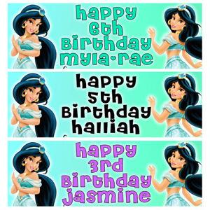 PRINCESS JASMINE Personalised Birthday Banner - Aladdin Birthday Party Banner