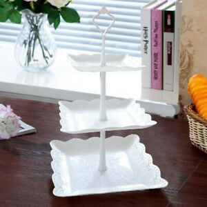 3 Tier Cake Stand Afternoon Tea Wedding Party Plates Tableware Embossed Tray New