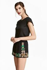 H&M Black Embroidered Detail Shorts with Tassel Tie. UK 10. BNWT.