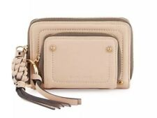 SEE BY CHLOE POCKET LEATHER WALLET BEIGE ZIP AROUND TASSEL CLUTCH NEW