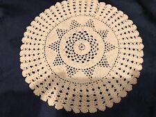 Besondere TISCHDECKE ♛ HÄKEL Decke  Handarbeit Creme beige ca 25 cm Durchmesser
