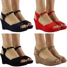 Womens Ladies Ankle Strap Platform Mid Heel Wedges Peeptoe Shoes Sandals Size
