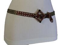 Cool Women Antique Gold Metal Fashion Belt Hip Waist Red Square Buckle Charm S M