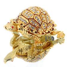 Turtle Hinged Trinket Box Handmade Golden Tortoise Bejeweled Box Collectible