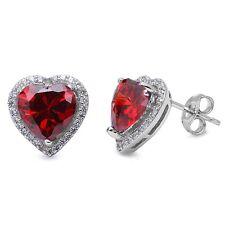 Garnet Heart & Cz Studs Style .925 Sterling Silver Earring