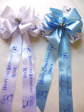 Frozen personalised ribbon bow - add your own message gifts, cakes, decorations