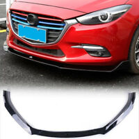 3PCS Gloss Black Front Bumper Lip Spoiler Cover Trim For Mazda 3 Axela 2017-2018