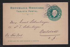 MEXICO 1911 POSTAL STATIONERY CARD PARRAS DE LA FUENTE COAHUILA TO CARLSTADT USA