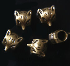 30pcs Spacer Charms Beads 5mm Hole Fox Bracelet Bronze Tibet DIY Jewelry A7692