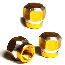 3 Amber Billet Hex Tire Air Valve Stem Dust Caps Trike ATV Bike Wheels