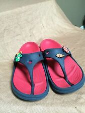 Crocs Unisex Blue/Red Thong Sandals With Jibbitz Size J1