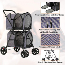 4 Wheels Detachable 2 Pet Stroller Eva Solid Tire Steel Frame w/ Locking Brakes