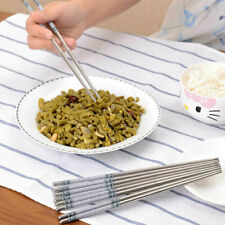 """8.9"""" Length White Vine Pattern Stainless Steel Chopsticks Chinese Home Kitchen"""