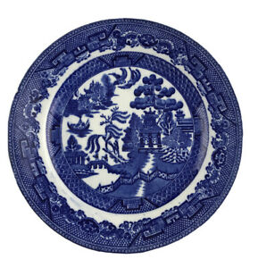 "Antique Blue Staffordshire Transferware  Wedgwood Blue Willow Plate 8"" U24"