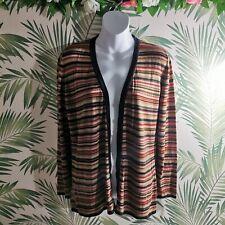 Marina Rinaldi Brown Striped Cardigan Size Medium