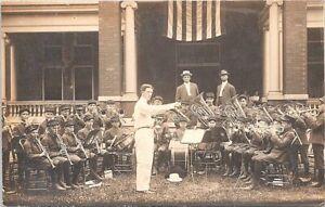 RPPC Iowa? School Children Musical Brass Band Orphanage? early 1900s